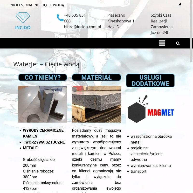 Cięcie wodą stali w Piasecznie